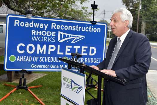 Department of Transportation Director Peter Alviti Jr. during a ribbon-cutting ceremony for the completion of the High Street and Kingstown Road improvement project.(Michael Derr photo)