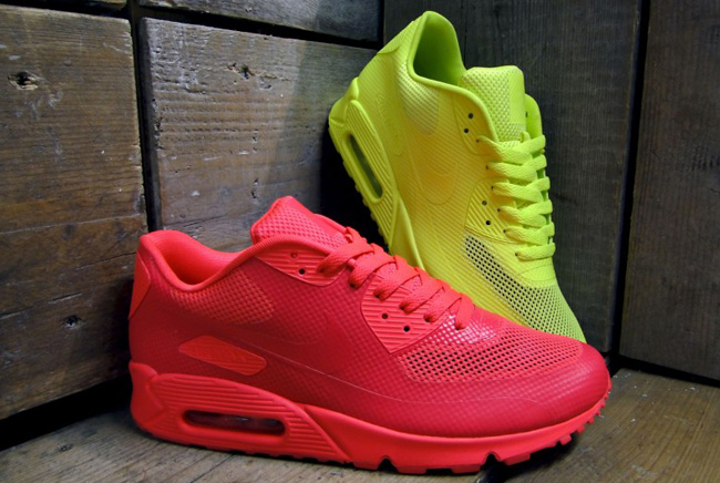 nike air max 90 hyperfuse - solar red & volt yellow