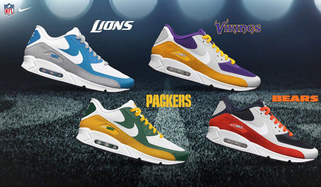 reputable site 653dc c40a1 ... Custom Shoes Nike Air Force Vans and NFC North x Air Max 90 Premium NFL  Green Bay, Chicago, ...