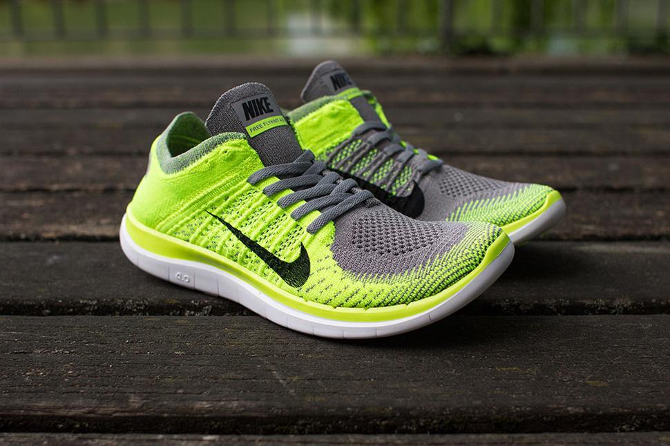 Nike Free 4.0 Flyknit (Light Charcoal & Volt)