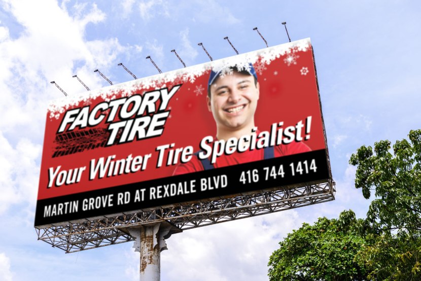 Tire Retailer billboard outdoor highway signage winter tire promtoion