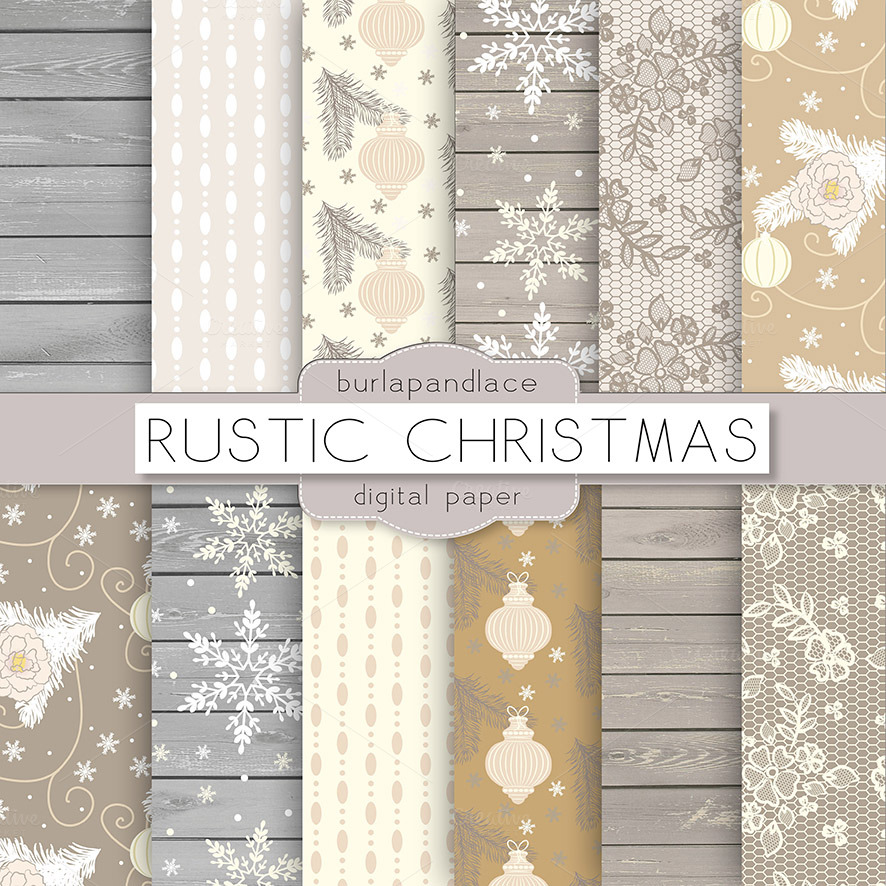 Rustic Christmas Digital Paper Patterns On Creative Market