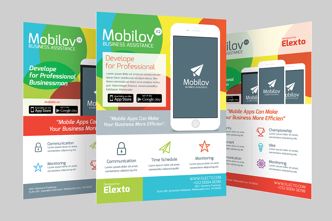 Colourful Mobile App Flyer Flyer Templates On Creative