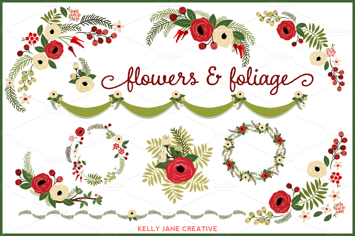 Christmas Flowers Amp Wreaths Vector Illustrations On