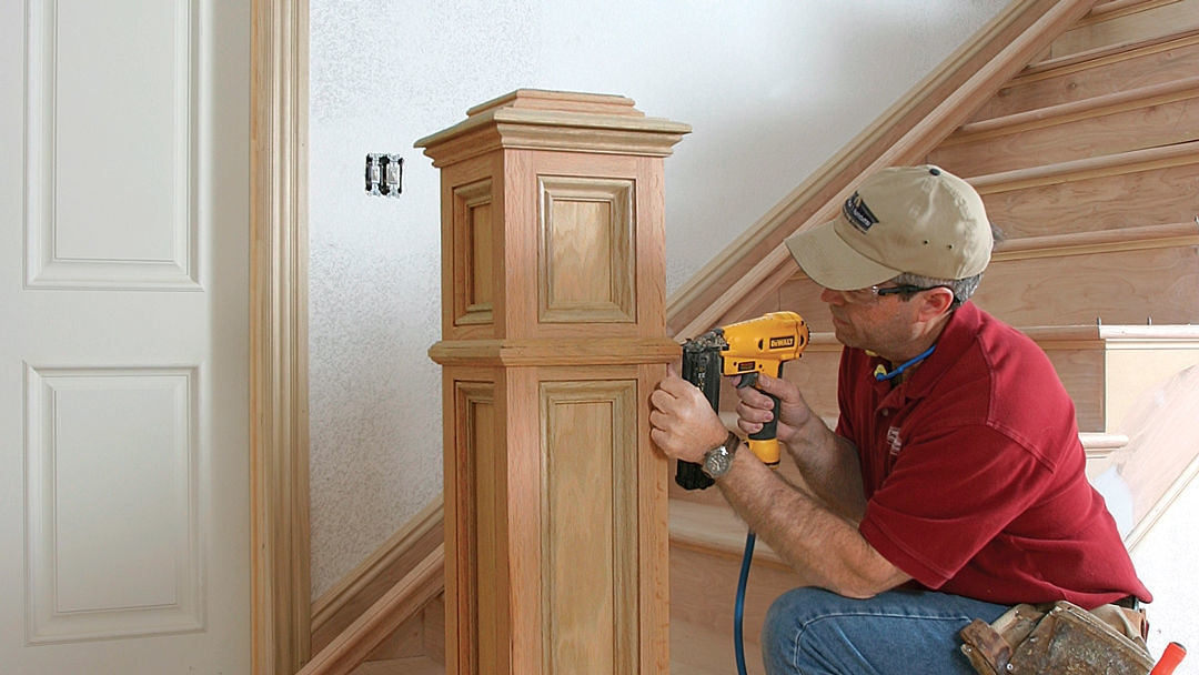 A No Fuss Newel Post Fine Homebuilding | Installing Newel Post And Spindles | Stair Treads | Stair Railings | Stair Banister | Box Newel | Staircase