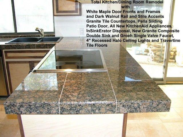 butting granite tile on countertop