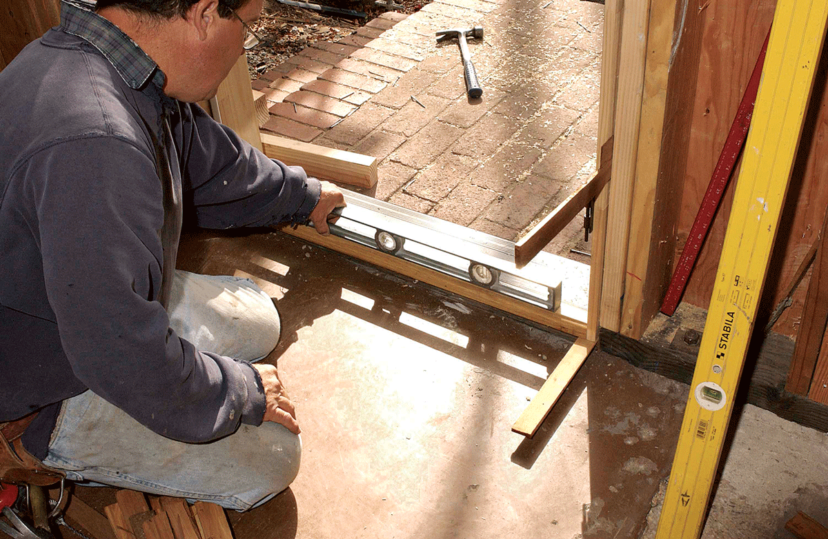 leveling a doorsill fine homebuilding