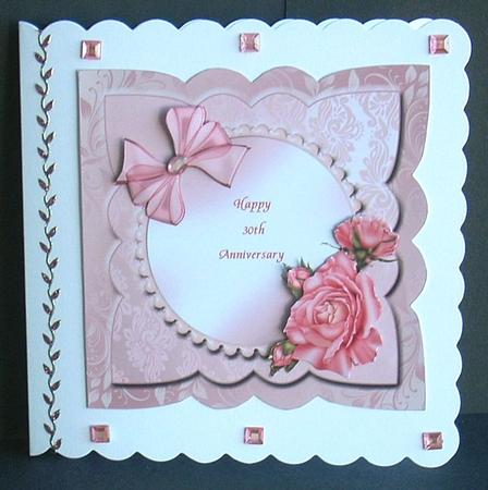 Pearl 30th Wedding Anniversary Card Front With Decoupage