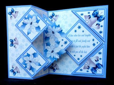 Fold Back Pop Up Poinsettias Silver Bells CUP580379173 Craftsuprint