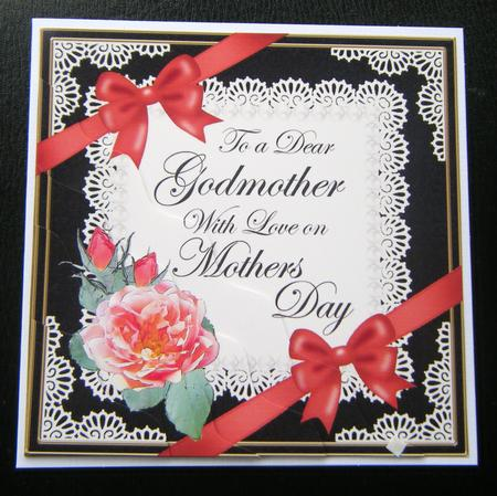 Godmother Mothers Day Rose And Lace Wavy Corner Side