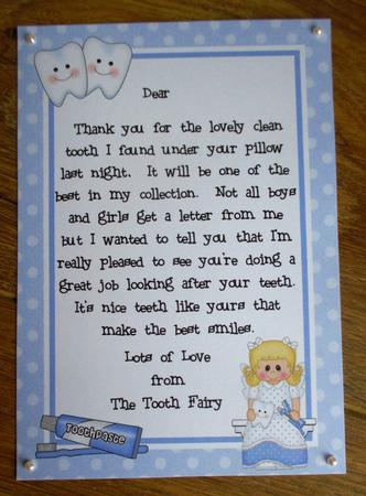 A4 Letter From The Tooth Fairy CUP675548359 Craftsuprint
