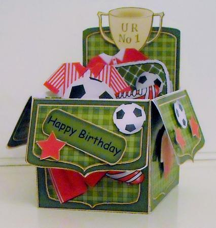3D Football Rubber Band Pop Up Box Card CUP553367359