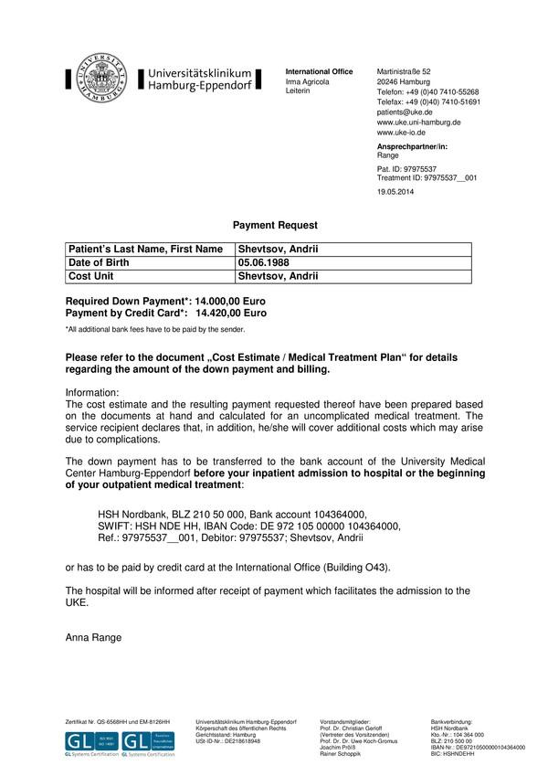 Payment Request Andriy Shevtsov