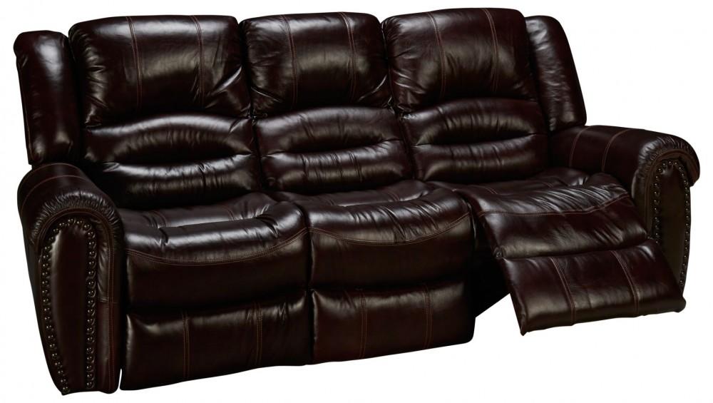 crosstown manual leather reclining sofa