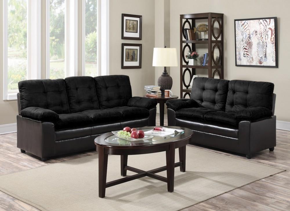 Black Microfiber Sofa And Love Seat Price Busters