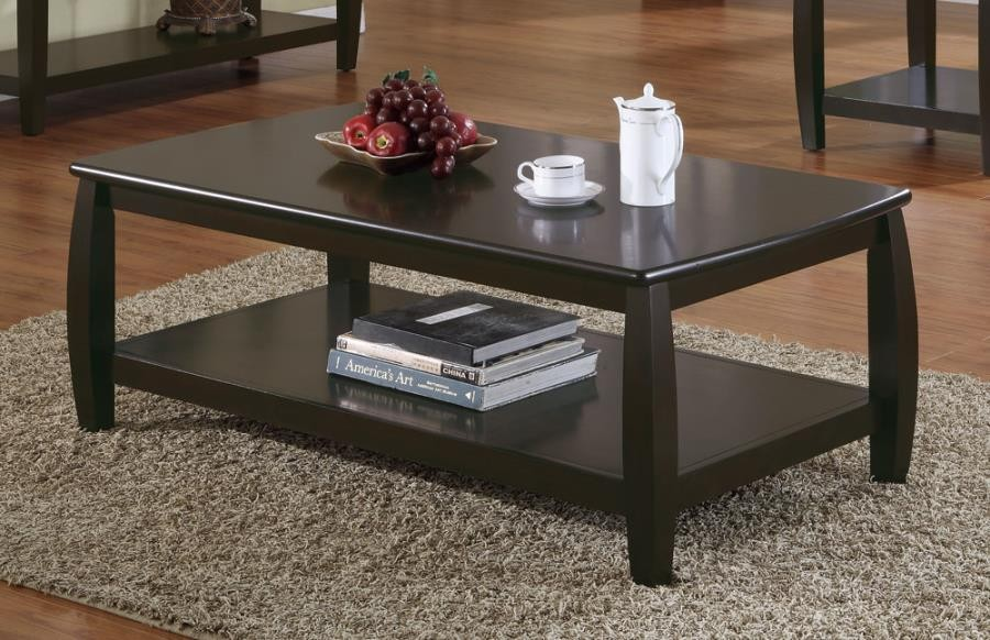 willemse motion collection wood top espresso coffee table