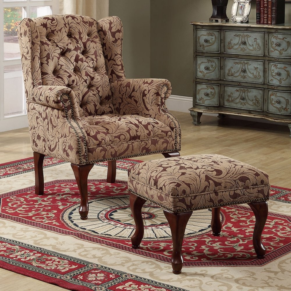 ACCENTS CHAIRS Queen Anne Light Brown Accent Chair 3932B Chair W Ottoman Quality