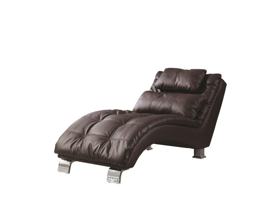 accents chaises contemporary brown faux leather chaise