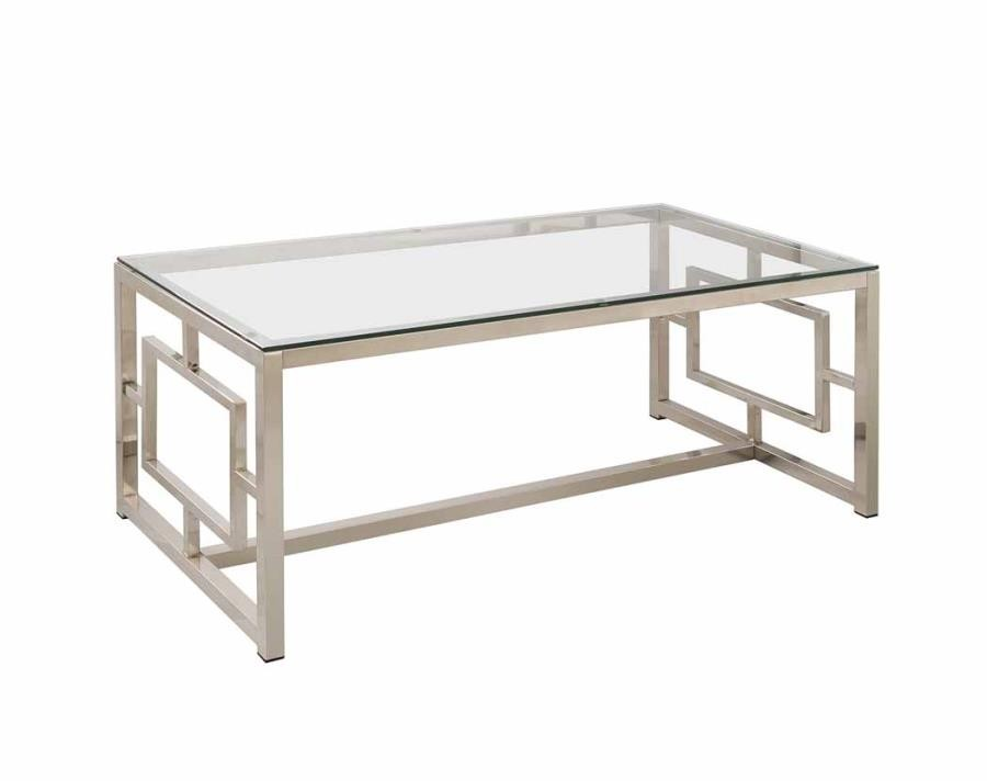 living room glass top occasional tables occasional contemporary nickel coffee table