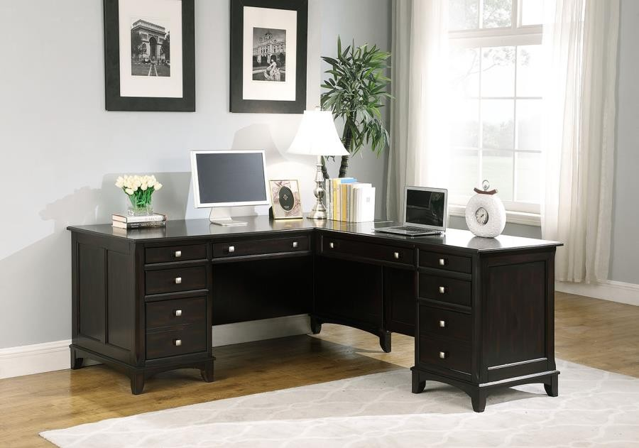 Garson Collection Garson Cappuccino L Shaped Office Desk 801011 Home Office Desks Midtown Outlet Home Furnishings
