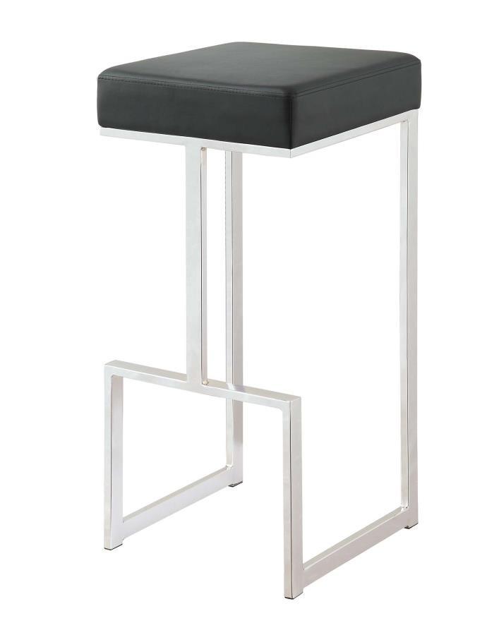 Bar Stools Metal Fixed Height Contemporary Chrome And Black 29 Bar Stool 105263 Bar Stools Jb S Furniture