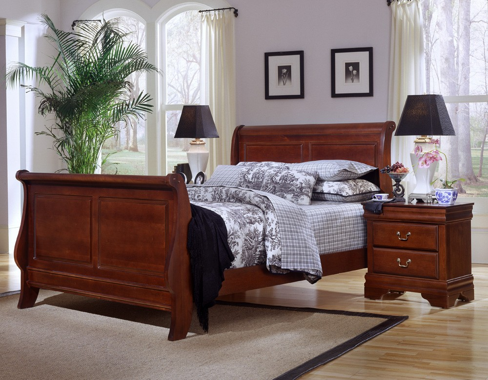 louis queen sleigh bed cherry finish