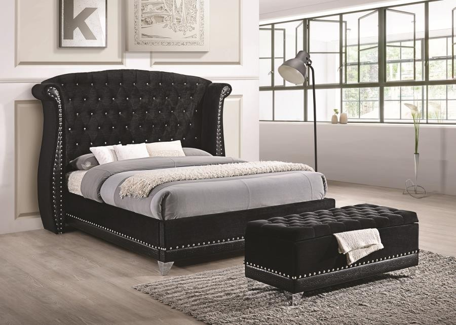 barzini black upholstered california king five piece bedroom set