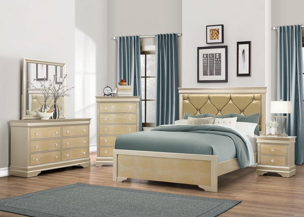 Abel Gold Dresser Mirror Queen Bed Abel Gold Bedroom