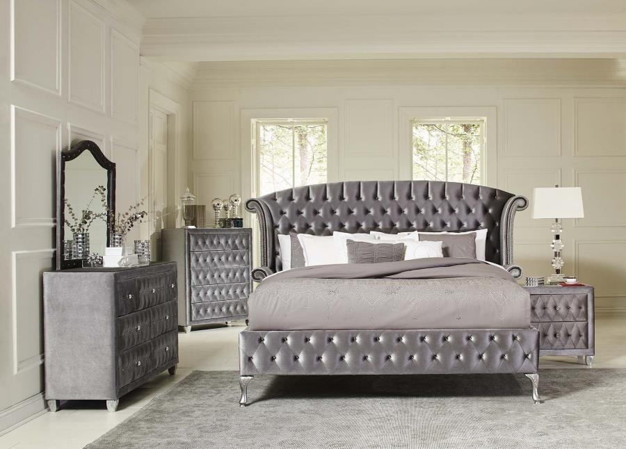 deanna bedroom collection deanna contemporary metallic california king bed