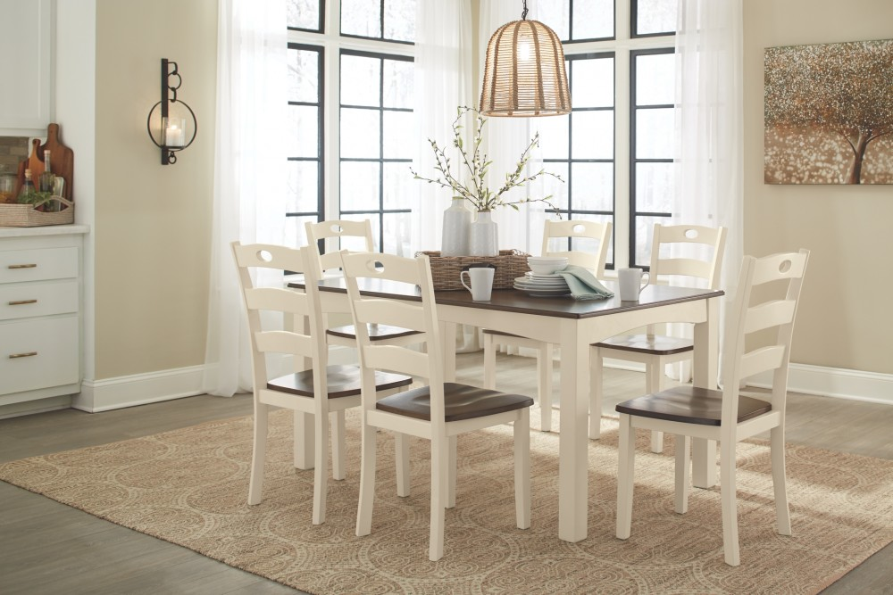 Woodanville WhiteBrown Dining Room Table Set 7CN