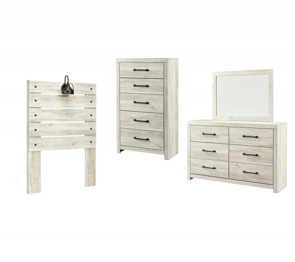 cambeck twin panel headboard with mirrored dresser and chest