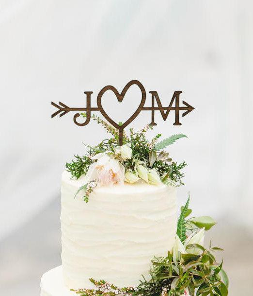 Wedding Cake Topper.Arrow Wedding Cake Topper