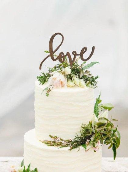 Rustic Wedding Cake Topper LOVE - Wooden Cake Topper