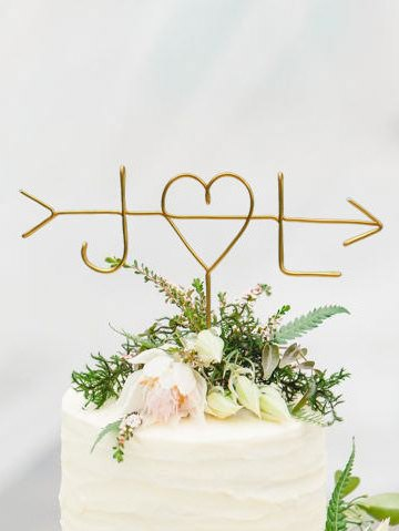 Wire Initials Arrow Cake Topper