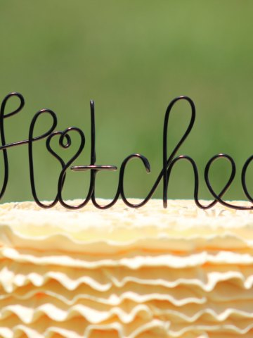 Wire Hitched Wedding Cake Topper
