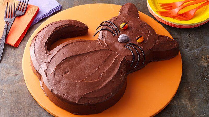 Halloween Black Cat Cake