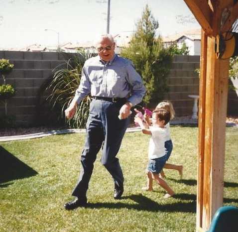 Grandpa in a water fight