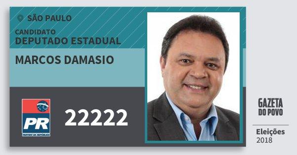 Santinho Marcos Damasio 22222 (PR) Deputado Estadual | São Paulo | Eleições 2018