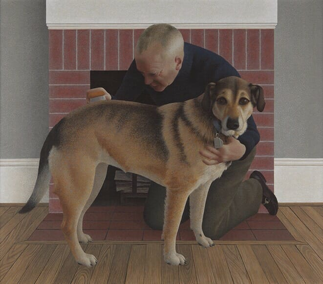 "Alex Colville, ""Dog and Groom"""