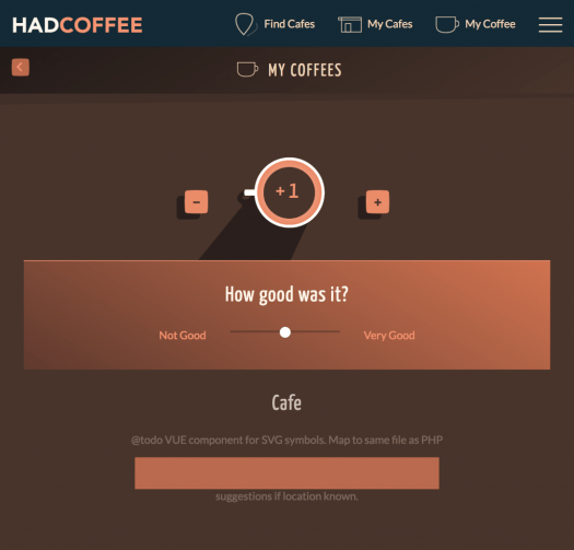 Screenshot of UI to Add a coffee