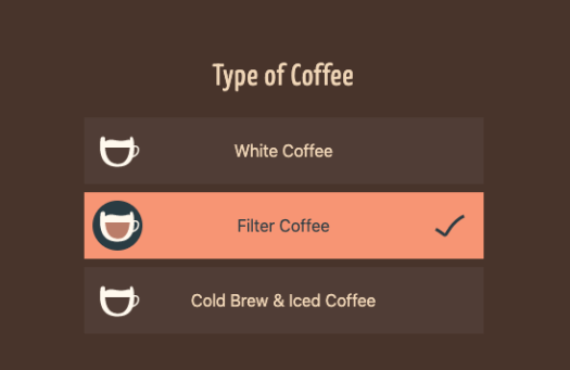 screenshot of coffee type UI