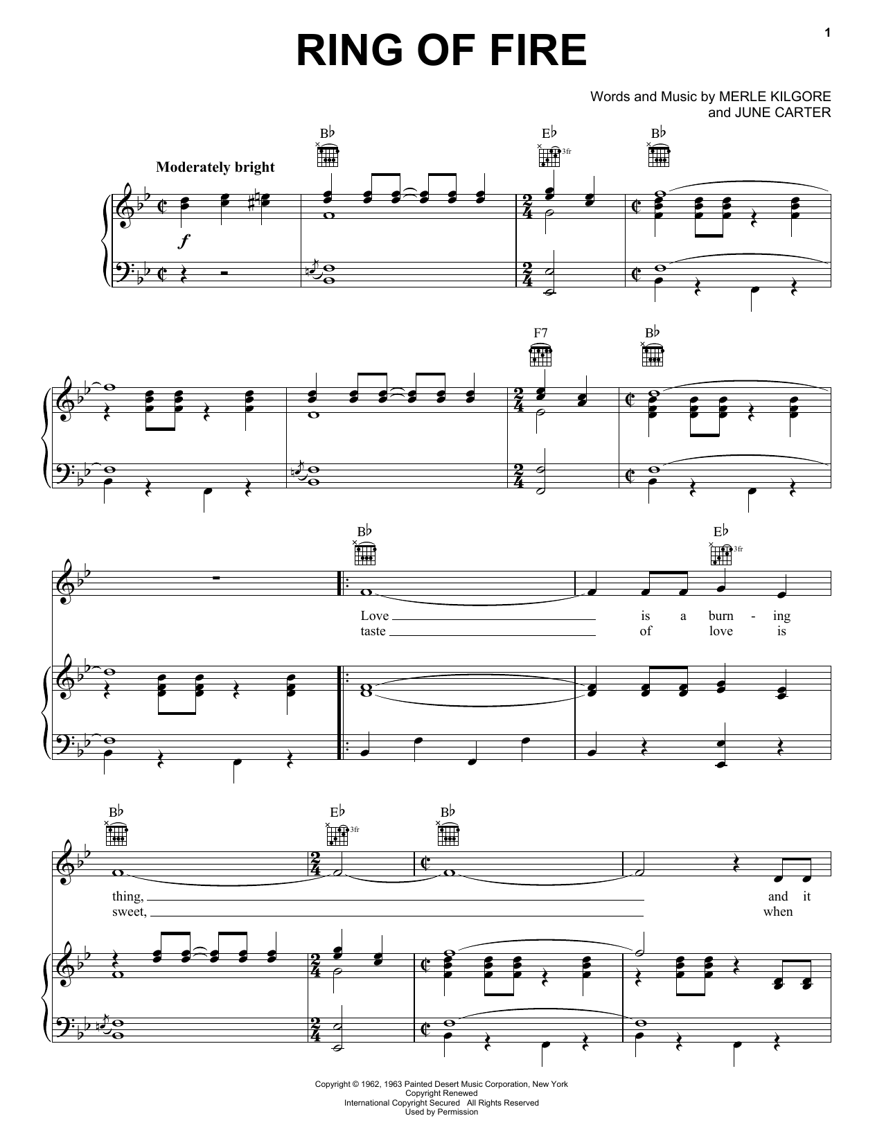 Ring Of Fire Sheet Music