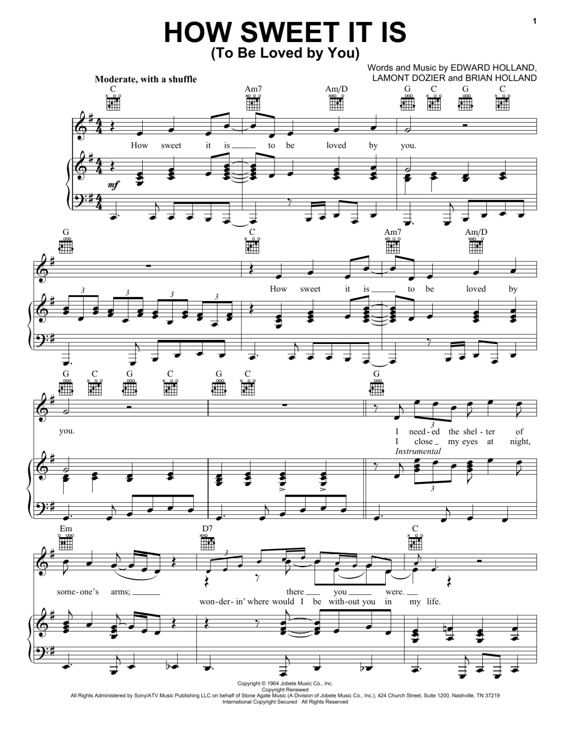 Download How Sweet It Is (To Be Loved By You) | Sheet Music Direct