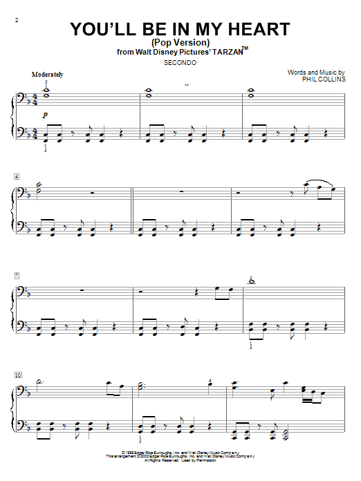 You'll Be In My Heart (Pop Version) Sheet Music | Phil ...