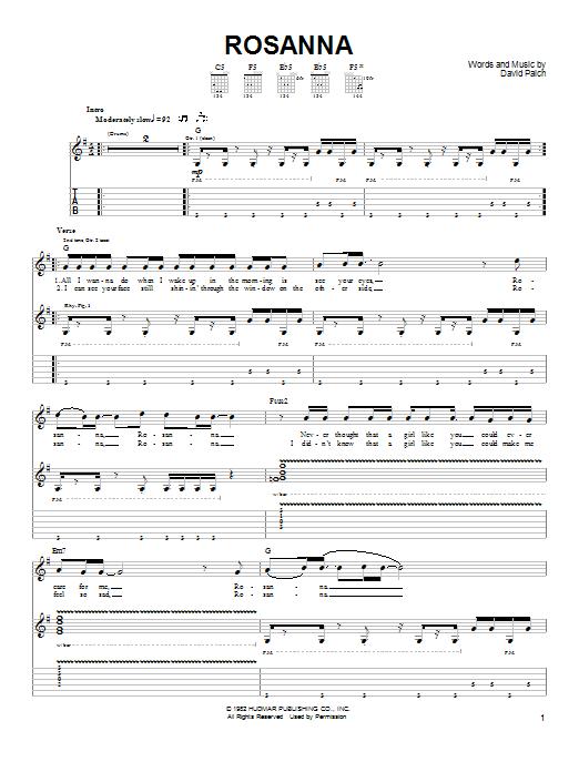 Rosanna Sheet Music Toto Easy Guitar