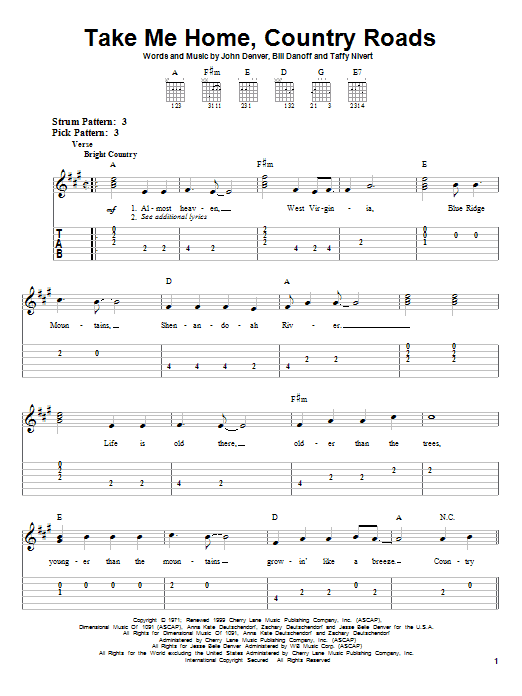Take Me Home Country Roads sheet music by John Denver