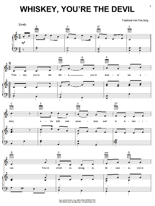 Whiskey, You're The Devil | Sheet Music Direct