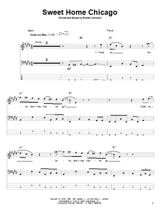 To the same old place, sweet home chicago. Sweet Home Chicago Sheet Music Blues Brothers Bass Guitar Tab