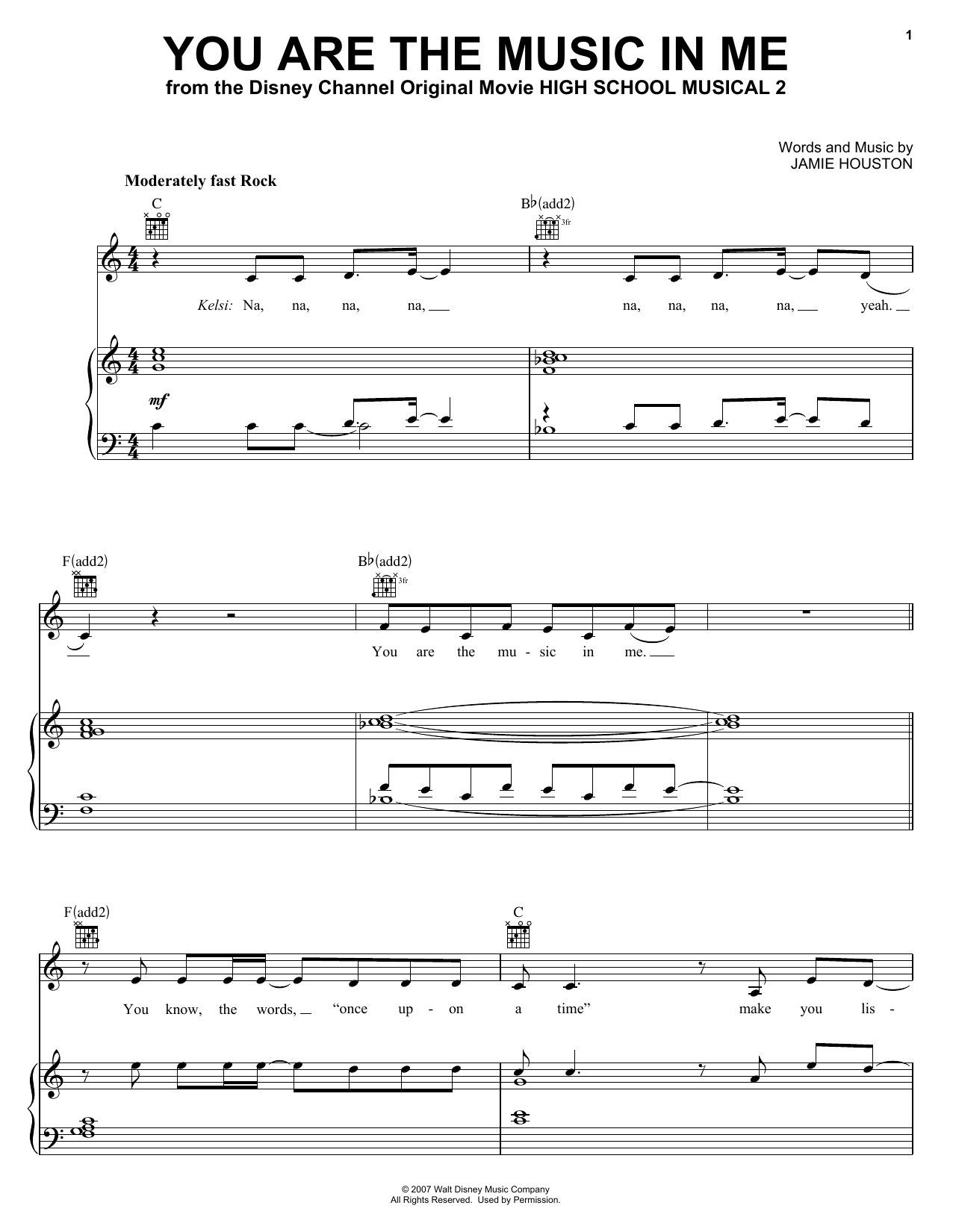 You Are The Music In Me Sheet Music By High School Musical
