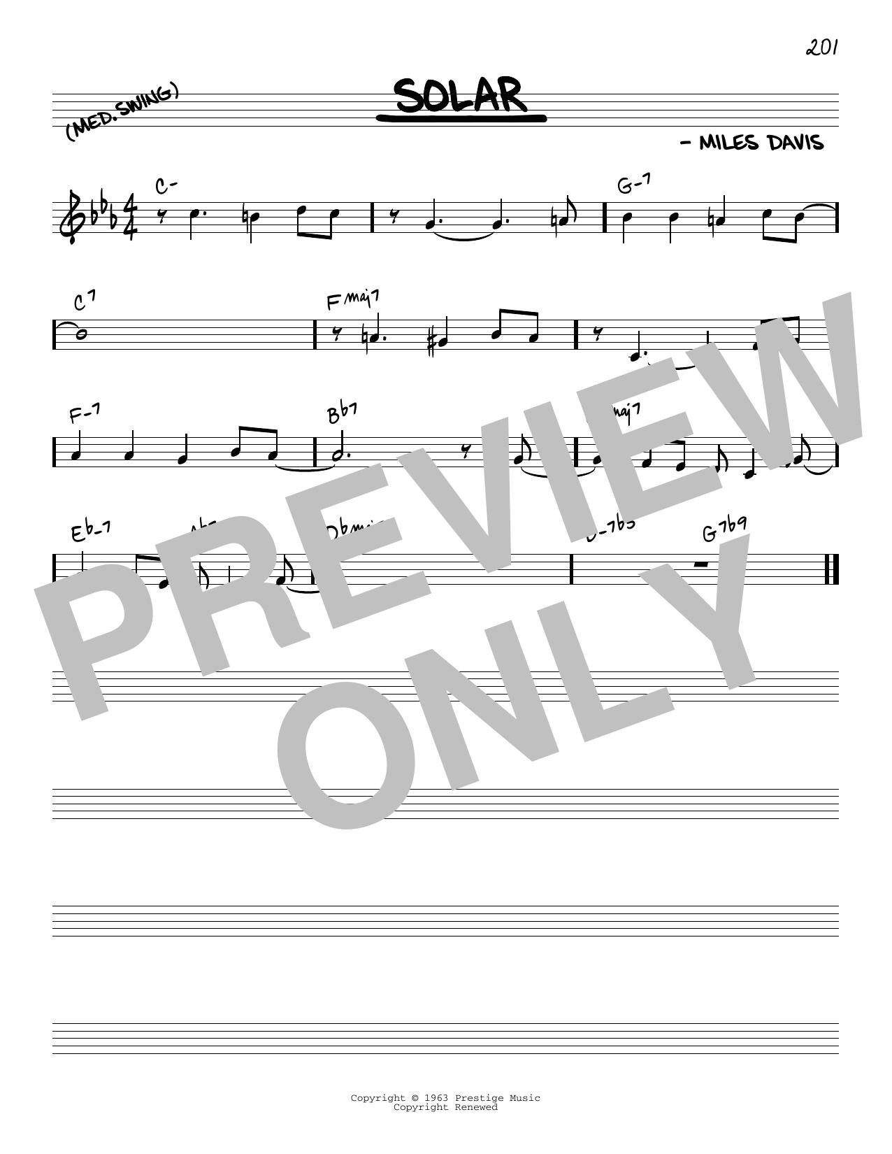 Solar Sheet Music Miles Davis Real Book